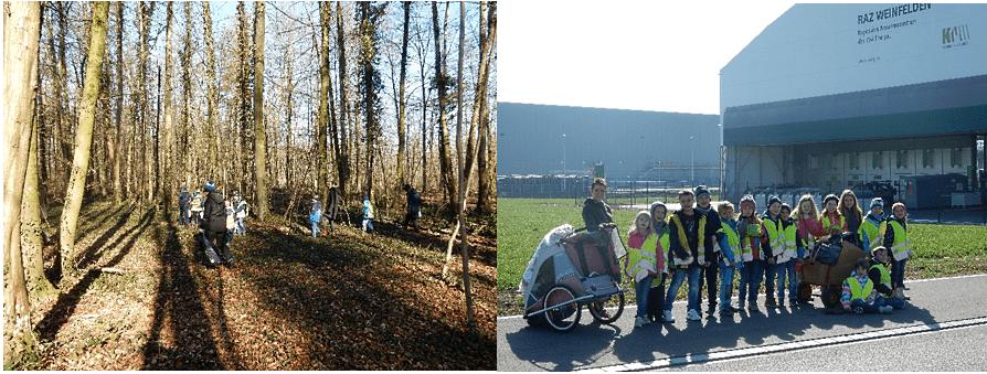 Die Erst- und Zweitklässler der Primarschule Weinfelden haben ihr Waldschulzimmer vom Müll befreit und den Abfall gleich im RAZ entsorgt.
